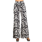Black and White Damask Print Palazzo Pants with Fold-Over Waist, Large