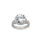 Brilliant Sterling Silver and 8 TCW Cubic Zirconia Cocktail Ring, Size 7
