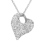 KREMENTZ 14K White Gold and Diamond Heart Necklace, 0.38ctw