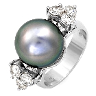 Black Tahitian Pearl and Diamond Ring in 14K White Gold, 1.20ctw