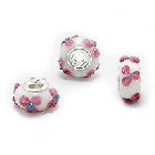 Cheneya Glass Bead in White with Raised Pink Flowers and a Blue Center