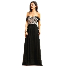 Soieblu, Black with Taupe Embroidered Bodice, Flared Off-the-Shoulder Maxi Dress, Large