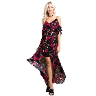 Blushing Hearts Hi Low Black with Red Flowers Dress, Small