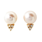 Freshwater Pearl and White Topaz Stud Earrings