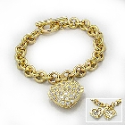 14K Gold Vermeil Bracelet with Heart Locket and Cubic Zirconias