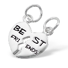 Sterling Silver Best Friends Heart Pendants with Two 18 Inch Chains