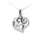 """Contemporary Sterling Silver Mother and Child Pendant, 18\"""" Chain"""