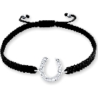 Black Corded Fifty Shades of Grey Style Horseshoe Shamballa Bracelet, Adjustable