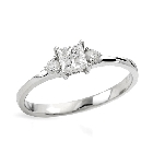 14K White Gold Diamond Engagement Ring, 0.51ctw