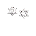 Elegant Sterling Silver Star of David Stud Earrings with Cubic Zirconias