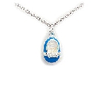 "Charming Blue Enamel and Sterling Silver Baby Shoe, 18"" Chain"