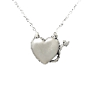 Whimsical Sterling Silver Devil Heart Pendant