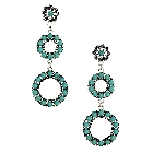 Western Style Turquoise and Silver Drop Earrings, 3.4""