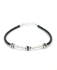 Sterling Silver and Rubber Mens Bracelet, 8""