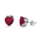 Intricately Designed Sterling Silver - 6mm Heart Stud Earrings with Red Cubic Zirconia, 2 CTW, 4 prong