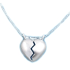 """Sterling Silver, Double Bail, Bake Apart Heart Pendant, One 17"""" Chain"""