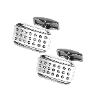 Brushed and Polished Silver Tone Rectangle Modern Novelty Cufflinks