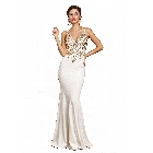 Soieblu Cream, Gold and Rhinestone Bodice Bodycon Long Maxi Gown, Medium