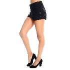 Black High-Waisted Sequin Sparkle Hot Pants Dress Shorts, Small