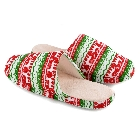 Christmas Indoor Slippers in Red, Green and White with Raindeer Print, Large (11-12)