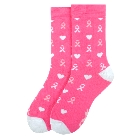 Womens Hot Pink Breast Cancer Awareness Socks with Pink Ribbon for October
