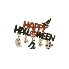 Happy Halloween Accent Brooch with Dangling Ghost Spider Cat and Skull Charms
