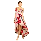 Soieblu Floral Print Dusty Rose and Fushia Open Shoulder Maxi Dress, Small