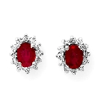 14K White Gold, Ruby and Diamond Earrings, 3.20ctw