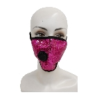 Shiny Hot Pink Bling Sparkly Fashion Mask Decorated with Sequins, Washable with Valve and Filter Pocket