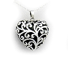 Sterling Silver and Black Enamel Plump Heart Pendant and Chain