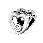 Cheneya 925 Sterling Silver Heart Shape Charm Bead Jeweled with Cubic Zirconia CZ