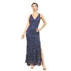 Soieblu Navy Blue Lace Yoke & Mesh Sleveless Embroidery Bodycon Dress, Small
