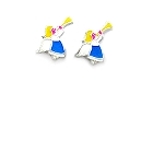 Children\'s Sterling Silver and Colored Enamel Angel Earrings