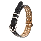 Black Leather Dog Collar with 2 Rows of Grey Rhinestones and a Round Rhinestone Covered Buckle, Medium
