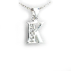 "Personal Initial Pendant in Cubic Zirconias and Sterling Silver, 18"" \""K\"""