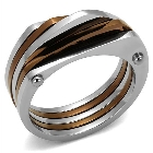 Women\'s Stainless Steel Two Tone Plated Light Brown Light Coffee Ring Band, Size 8