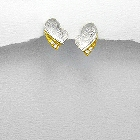 18K Gold Vermeil and Sterling Silver Heart Earrings