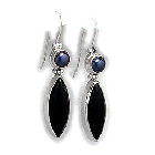 Pearl and Black Agate Earrings in Stunning Sterling Silver