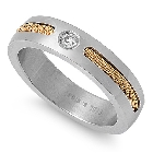 Stainless steel wedding band in gold plated rope design and Cubic Zirconia, Size 7
