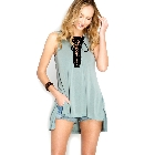 Slate Blue Sleeveless Modal Cupro Hi Low Hooded Top w/Black Lace Up Trim, Large