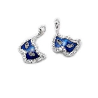 Sterling Silver Mask Charm with Cubic Zirconias and Blue Enamel
