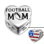 """Cheneya \""""Football Mom\"""" Sterling Silver Heart Bead with Red, White and Blue American Flag"""