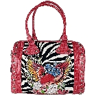"""True Love Freedom\"" Tattoo Inspired, Zebra Canvas and Pink Leather in a Crocodile Pattern, Bowling Style Bag"