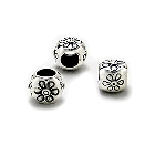 Cheneya Sterling Silver Bead with Flower Design
