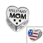 "Cheneya ""Military Mom"" Sterling Silver Heart Bead with Red, White and Blue American Flag"