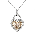 Diamond Heart Necklace in 14K Two-Tone Gold, 0.50ctw