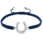 Blue Corded Fifty Shades of Grey Style Horseshoe Shamballa Bracelet, Adjustable