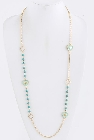 Long Gold Tone Chain Necklace with Mint Green Beads and Enamel Hearts, 40 Inch