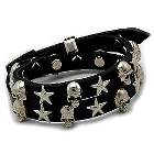 Goth-Look Black Leather Bracelet with Stars and Skulls