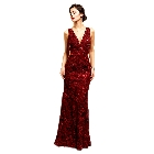 Soieblu, Elegant Burgundy Wine Formal Evening Gown Dress Embroider Detail, Large